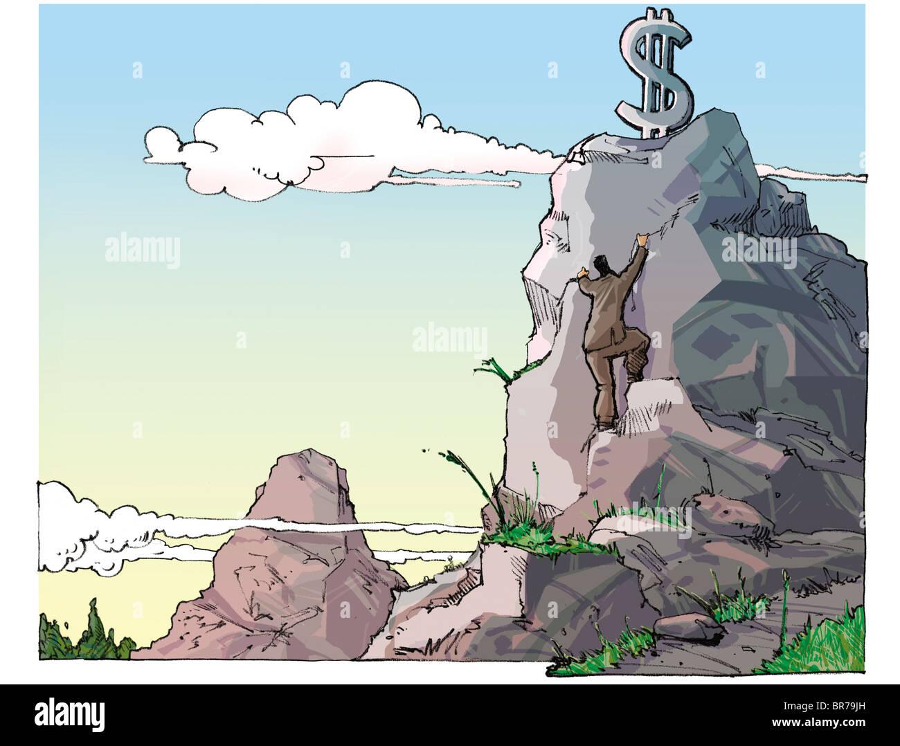 Guy escalar una montaña para alcanzar el signo de dólar en la parte superior Foto de stock