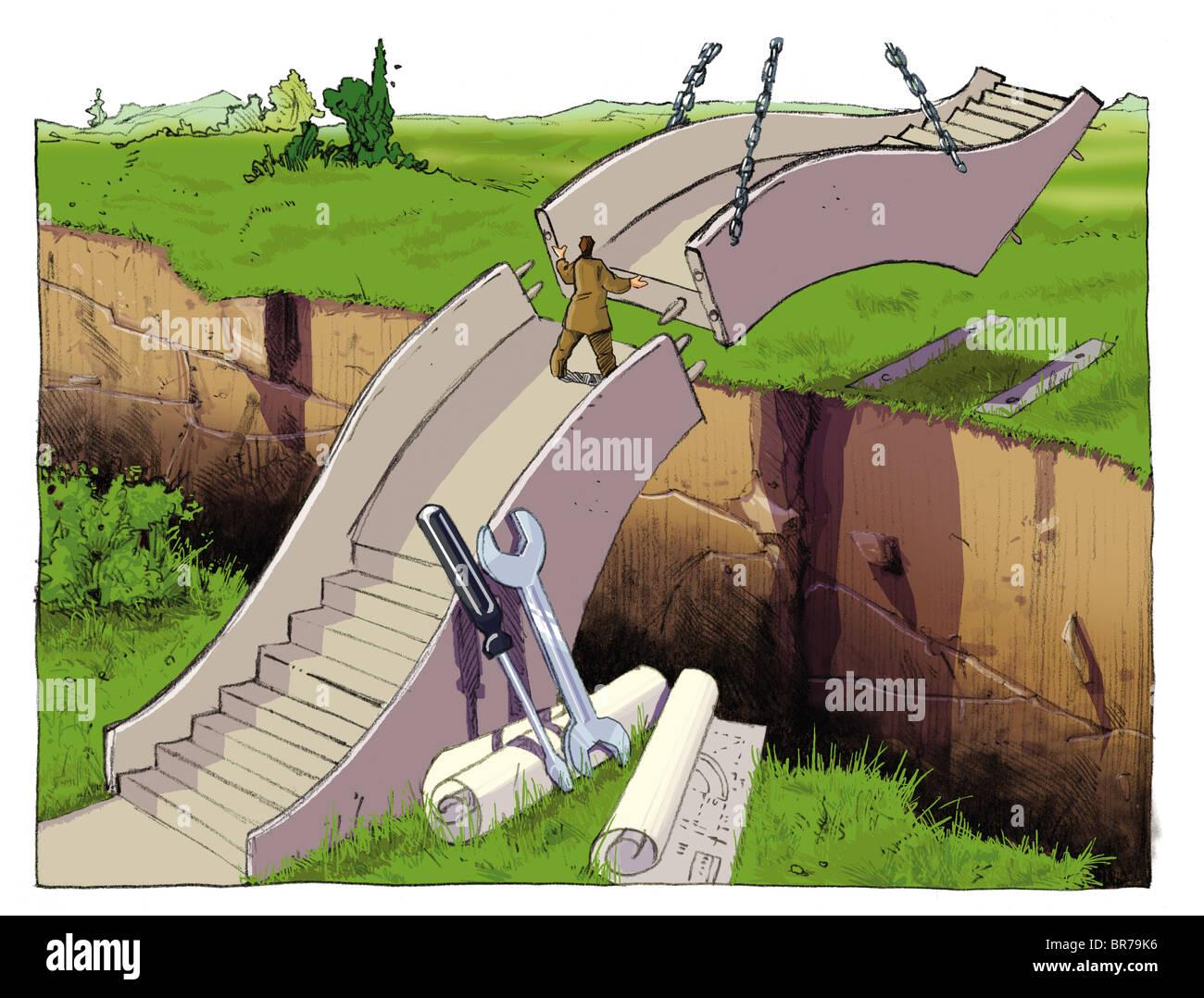 Empresario haciendo un puente para cruzar una grieta Foto de stock
