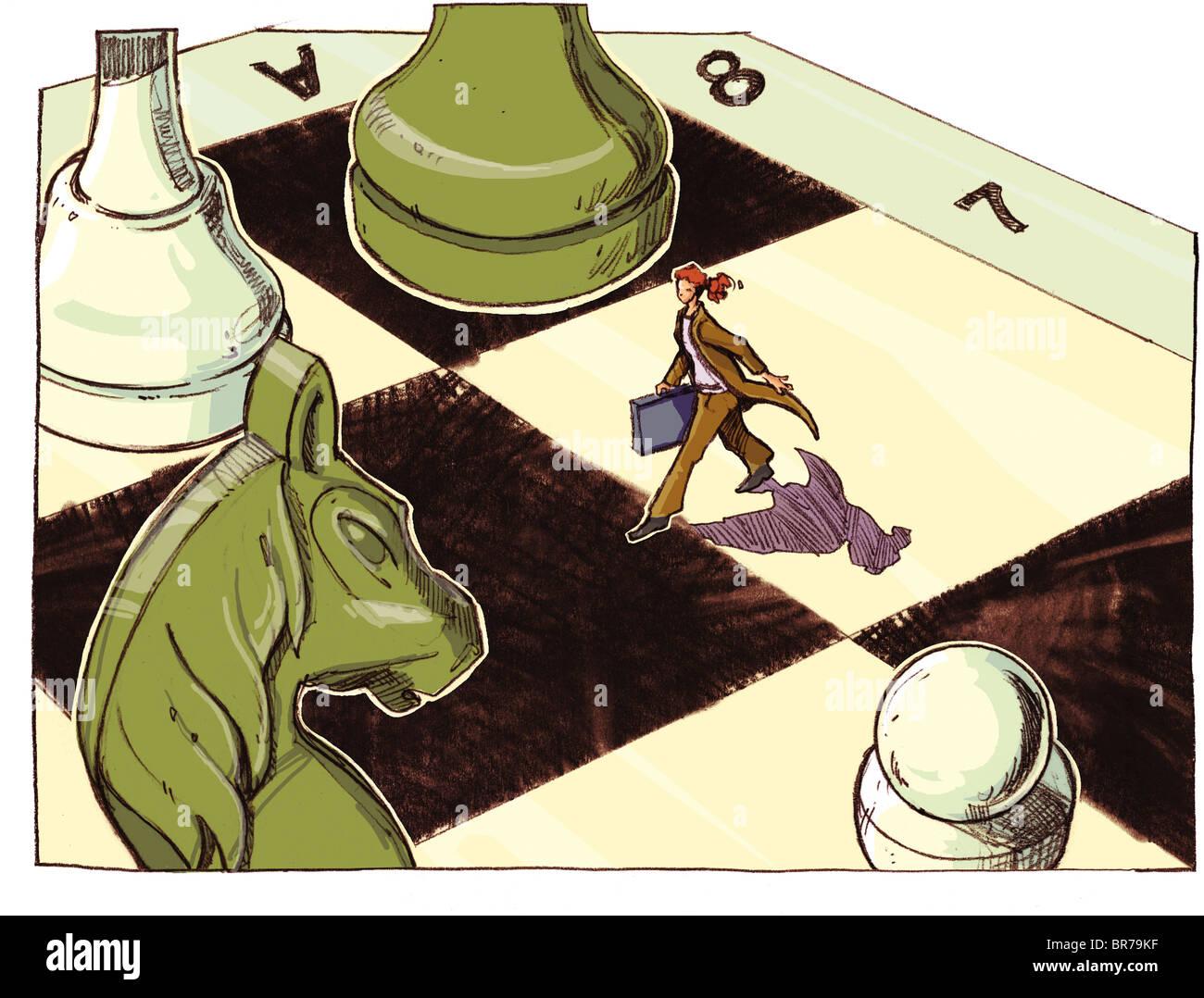 Una empresaria caminando a través de un gigantesco tablero de ajedrez Foto de stock