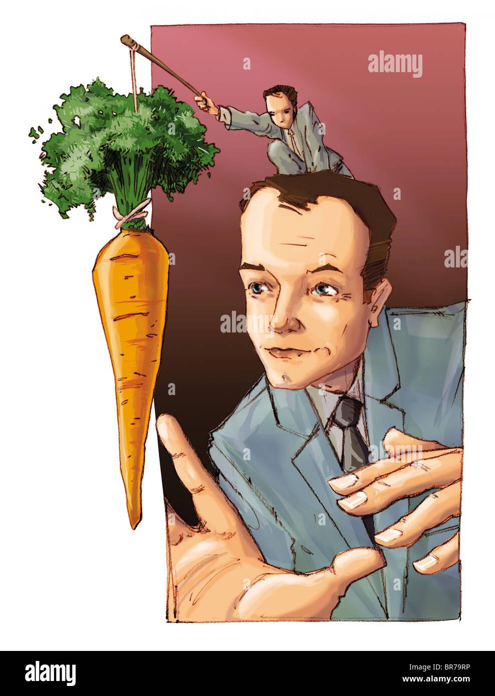 Un hombre pequeño colgando una zanahoria delante de un hombre de negocios Foto de stock