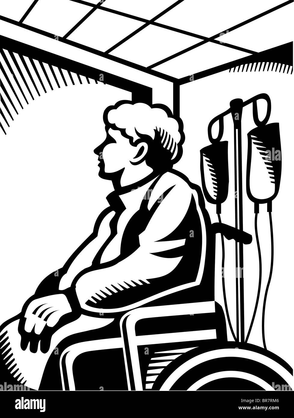 Una anciana en una silla de ruedas en blanco y negro Imagen De Stock