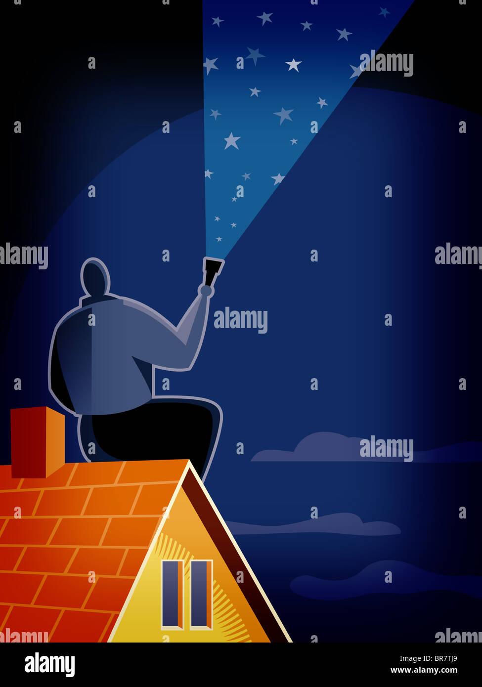 Un hombre mirando el cielo estrellado. Foto de stock