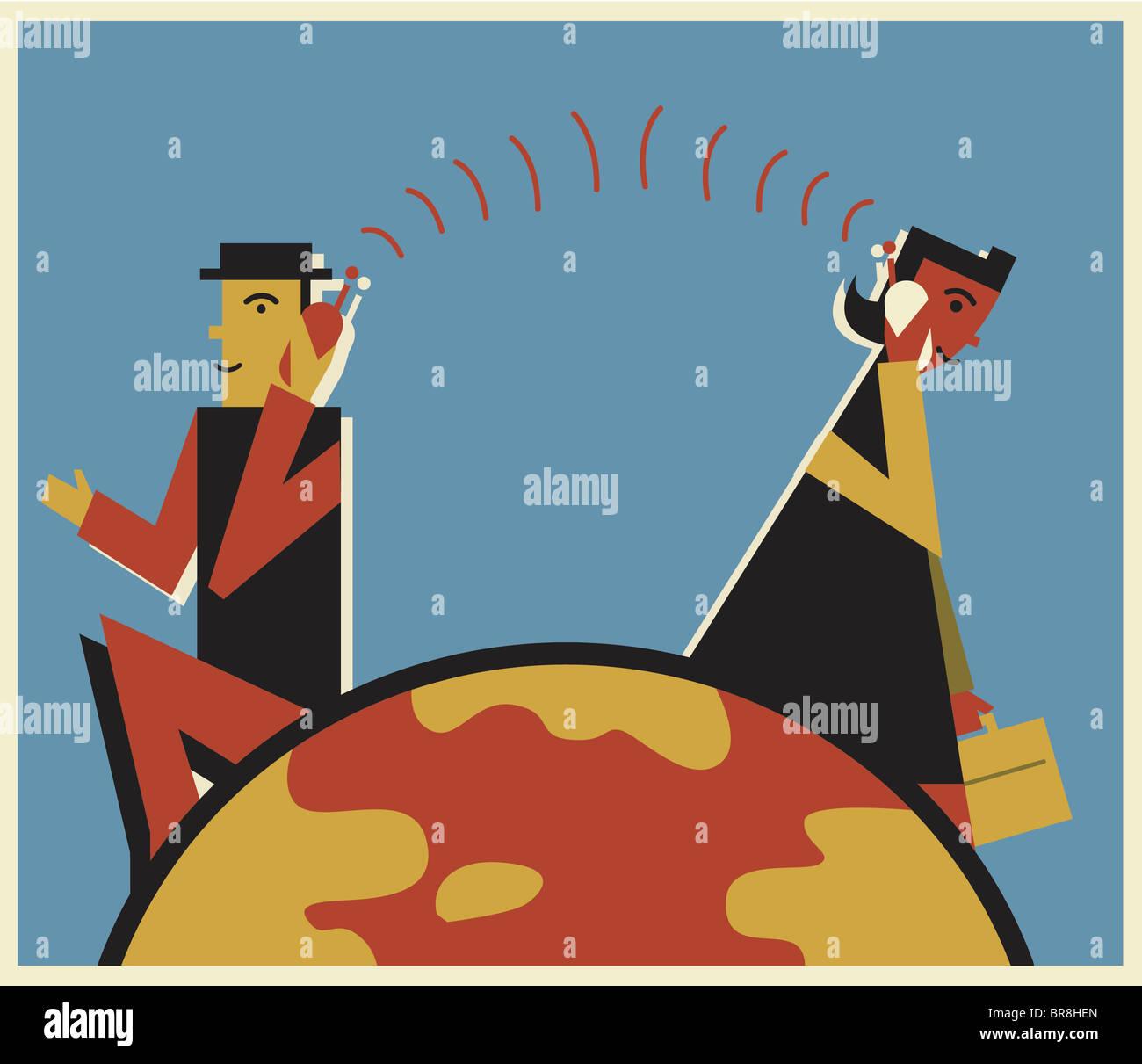 Dos profesionales hablando de larga distancia a teléfonos celulares Imagen De Stock