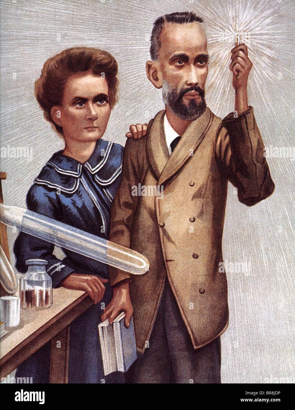 Físico francés MARIE CURIE y su esposo Pierre en una ilustración de 1904 que muestra incorrectamente los rayos x Foto de stock