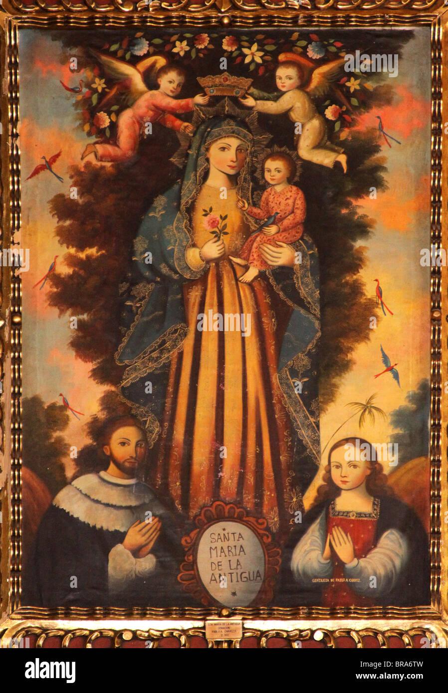 Santa María la Antigua, Santa María la Antigua, patrona de Panamá, la pintura en la Catedral Nacional, Ciudad de Foto de stock