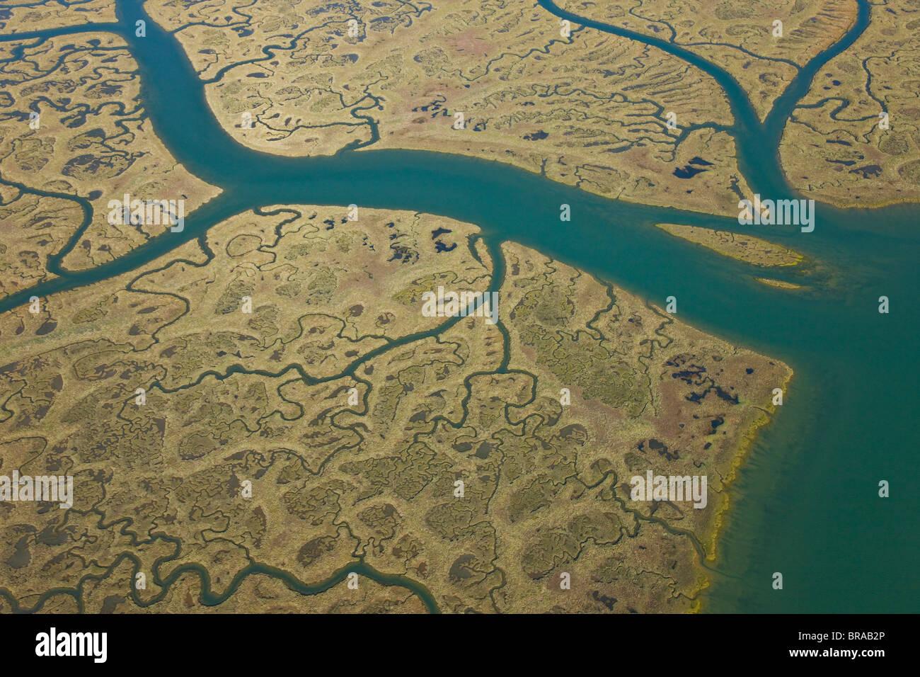 Vista aérea de los afluentes, y la marisma salada Costa, Odiel, Costa de la Luz, Huelva, Andalucía, España, Imagen De Stock