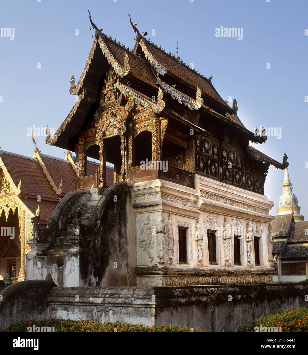 La Biblioteca de Manuscritos de Wat Phra Singh, Chiang Mai, Tailandia, en el sudeste de Asia, Asia Foto de stock