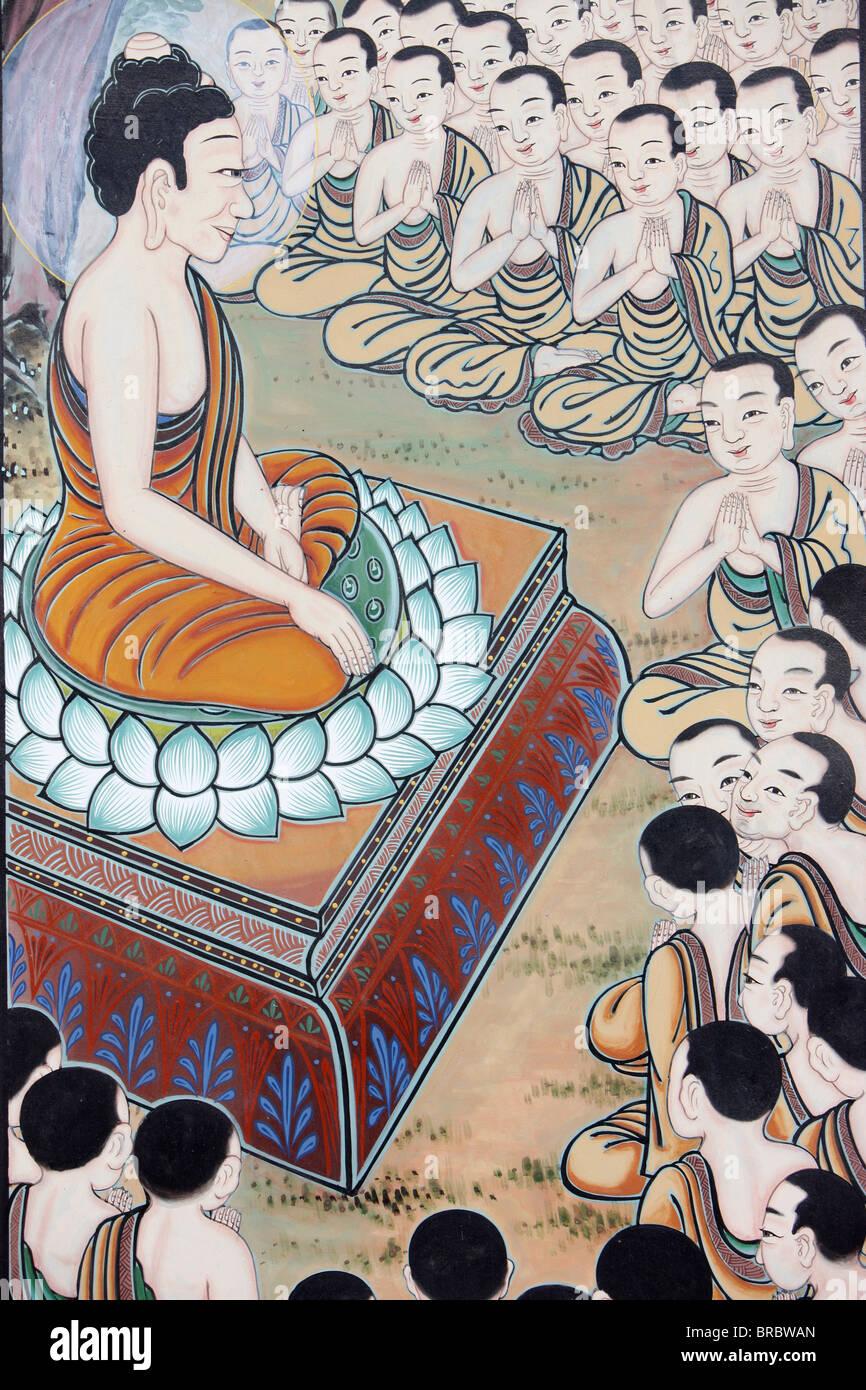 La ocasión en 1250 los monjes se reunieron espontáneamente para escuchar la enseñanza de Buda, Seúl, Imagen De Stock