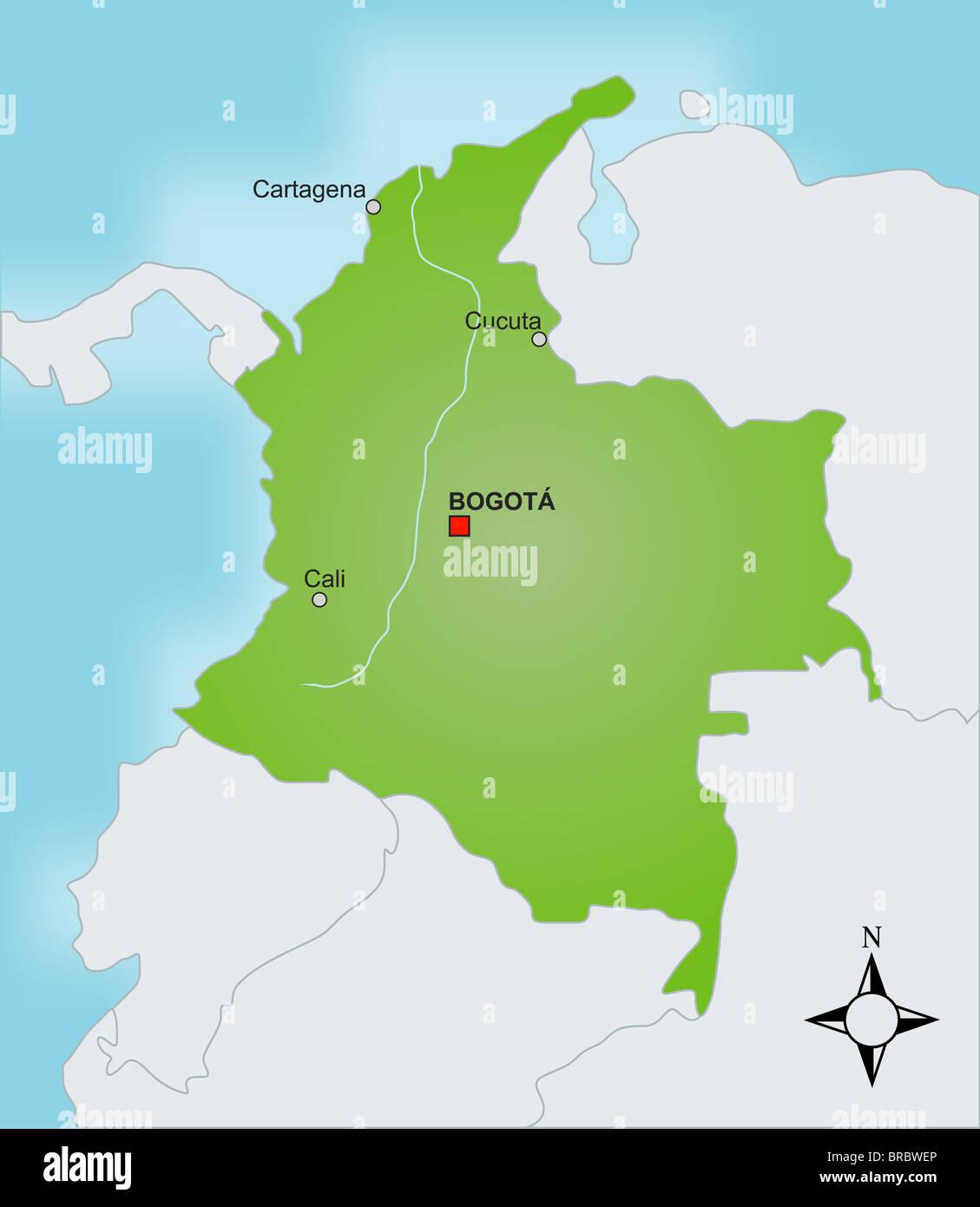 Mapa De Colombia Ciudades.Una Estilizada Mapa De Colombia Mostrando Las Diferentes