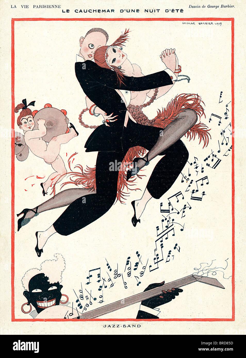 Jazz Band, 1929 Ilustración de la revista francesa, Le cauchemar dune nuit ete, la pesadilla de una noche de Imagen De Stock