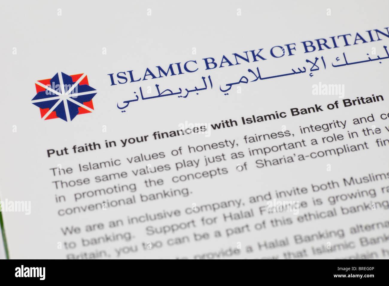 Banco Islámico de Gran Bretaña logo y folleto de información Foto de stock