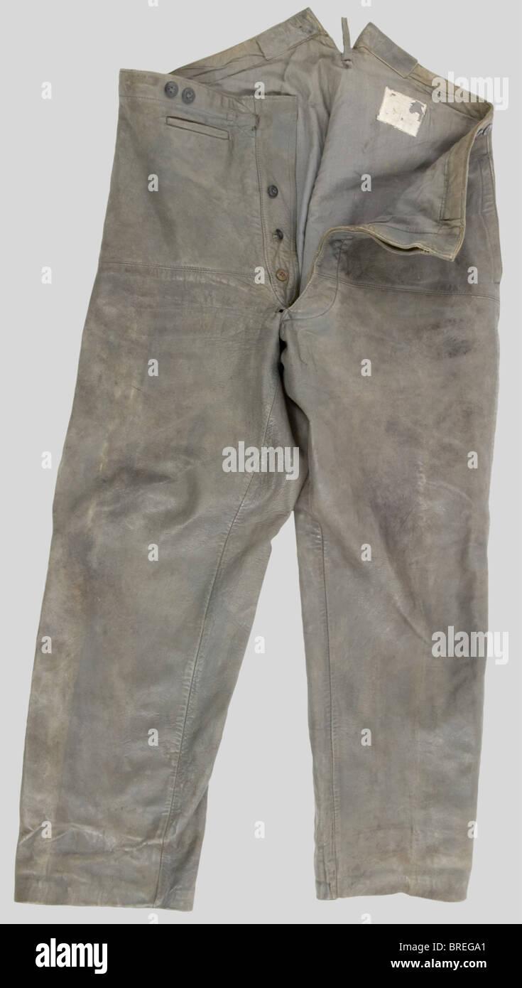 Kriegsmarine, Pantalon de Pont de la Kriegsmarine, en cuir gris., , Additional-Rights-juegos-NA Imagen De Stock