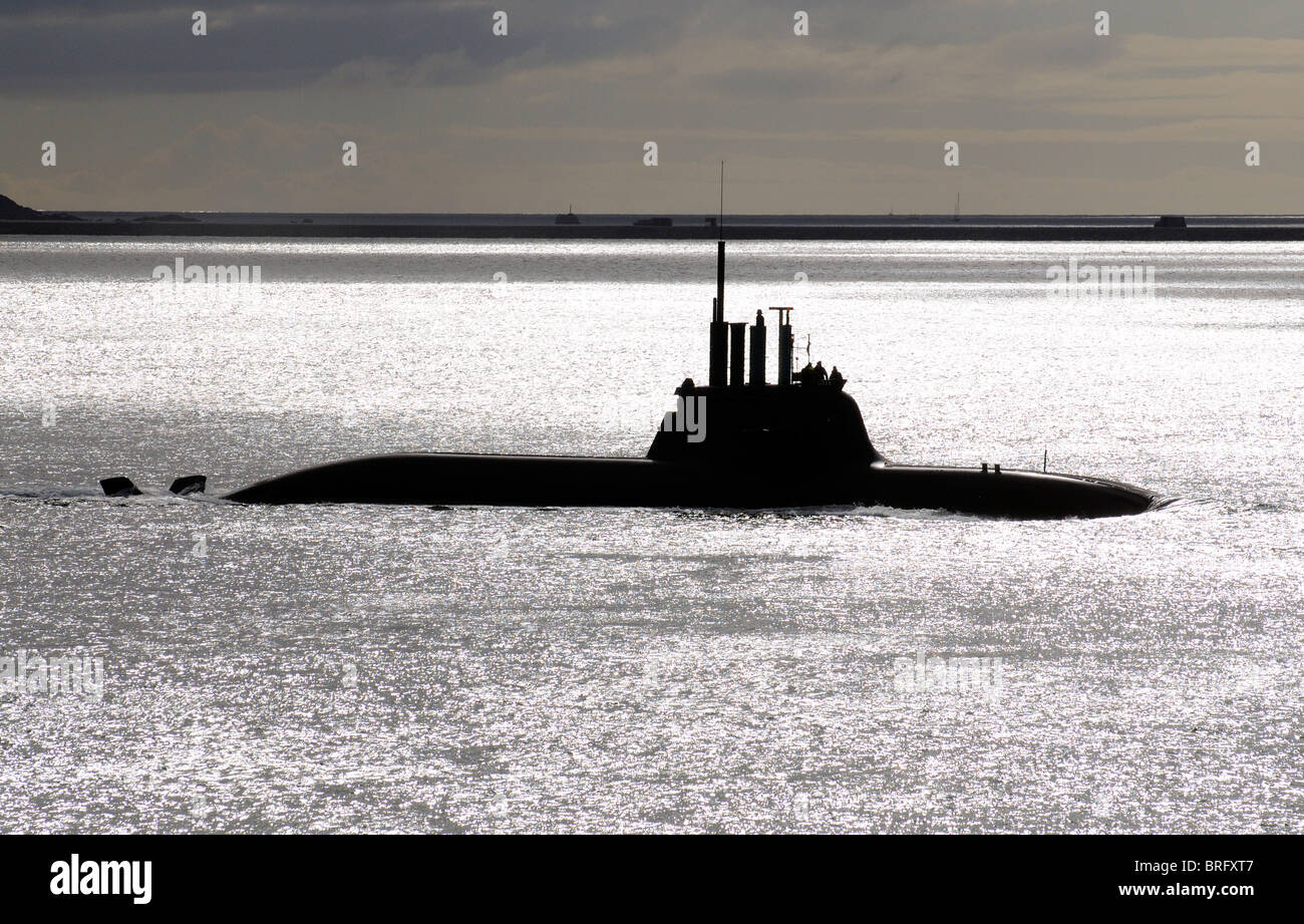 Marina submarino alemán U33 visto en curso sobre la superficie Plymouth Sound Off, el sur de la costa de Devon Imagen De Stock