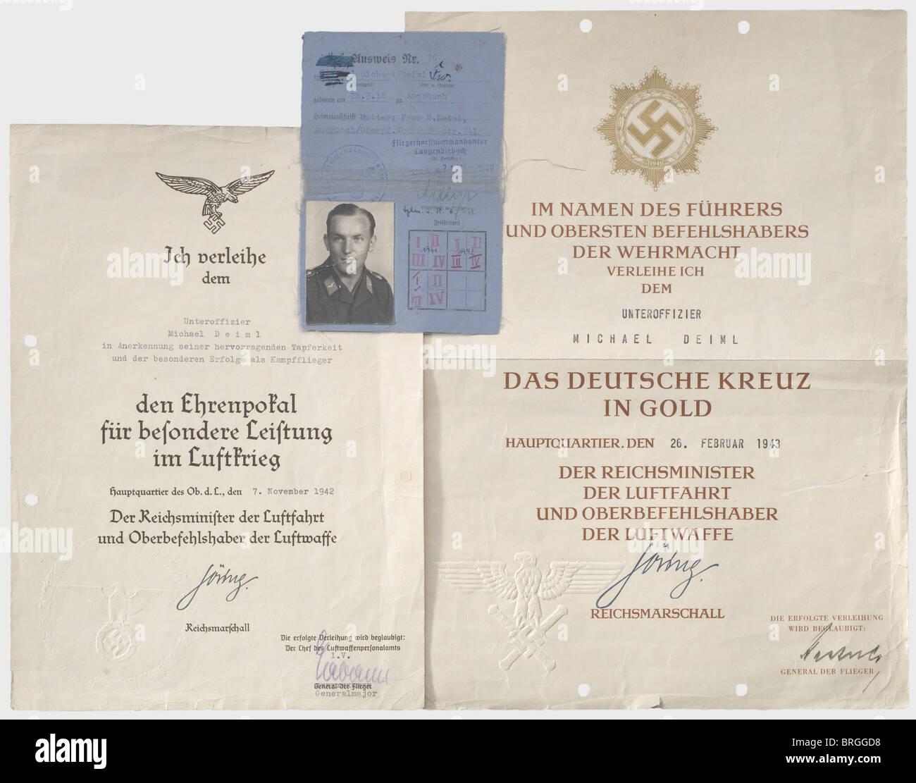 Documentos de adjudicación de un funcionario menor, en Bomber Group 55 'Greif' documento de premio decorativo grande Foto de stock