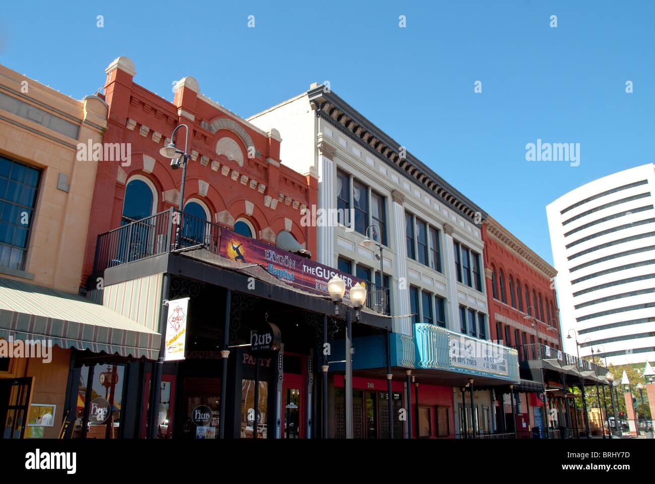 El distrito de entretenimiento de la calle Crockett en Beaumont, Texas, EE.UU. Imagen De Stock