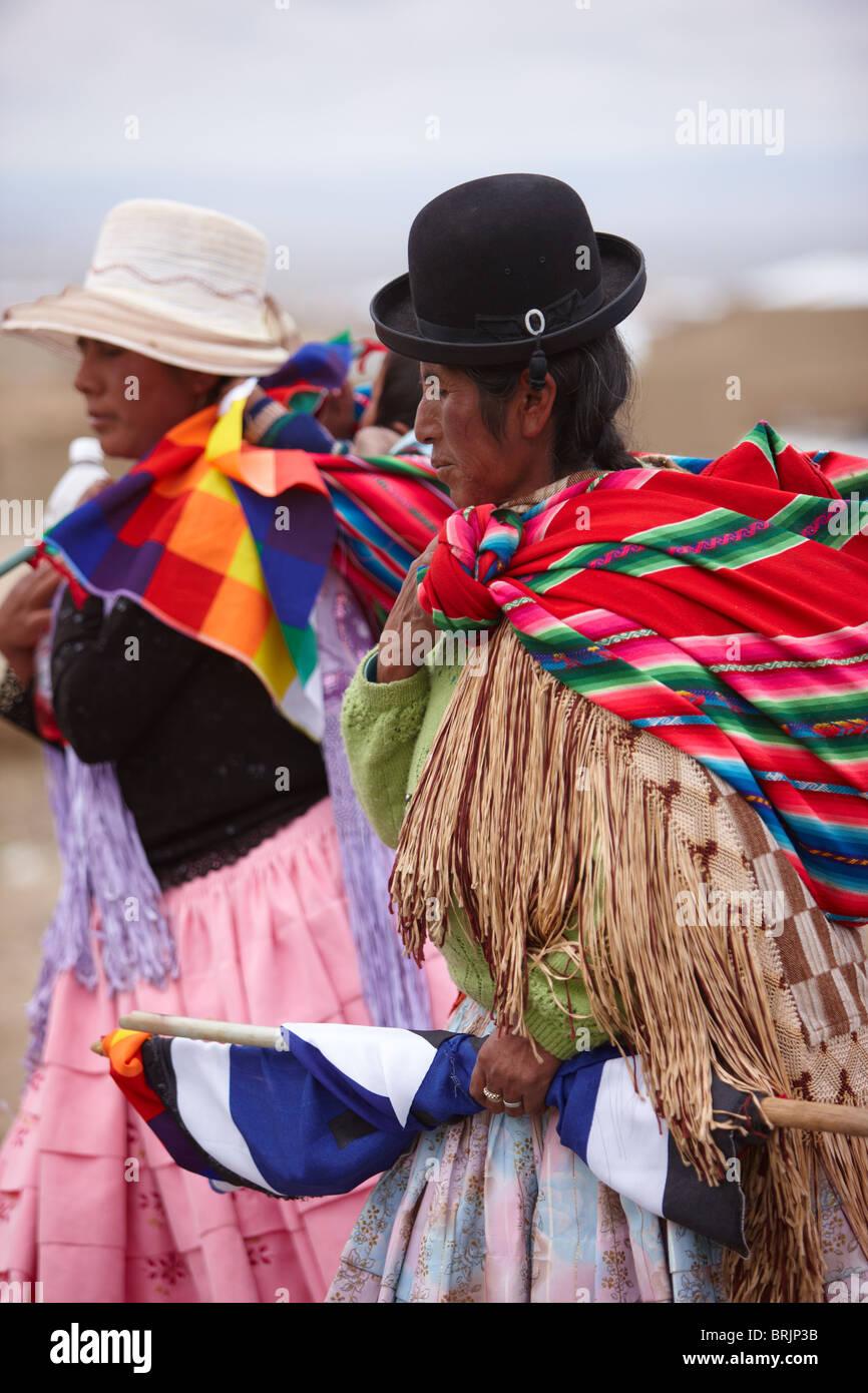 Las mujeres en un mitin político, La Paz, Bolivia Imagen De Stock