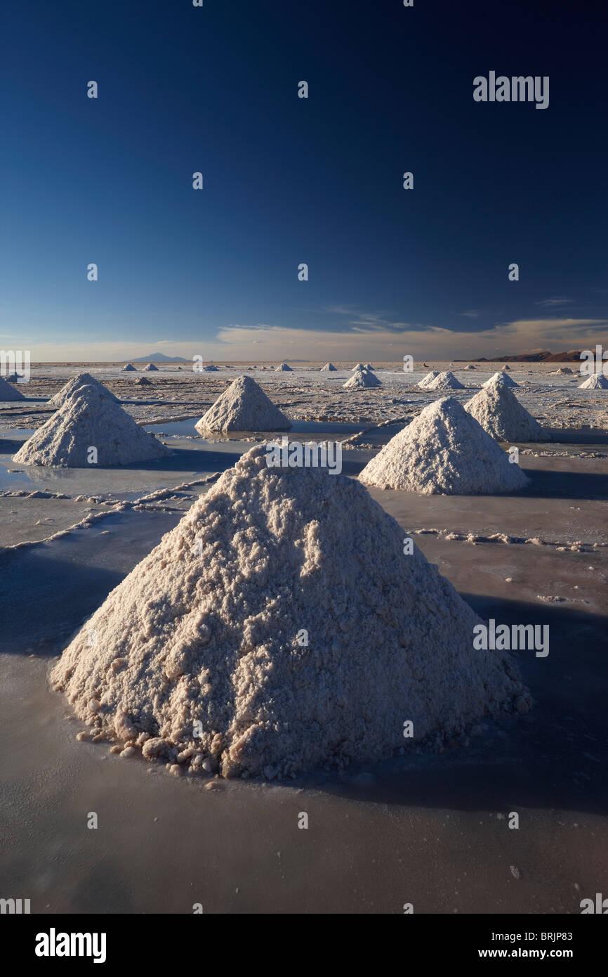Los montones de sal en el Salar de Uyini al anochecer, Bolivia Imagen De Stock
