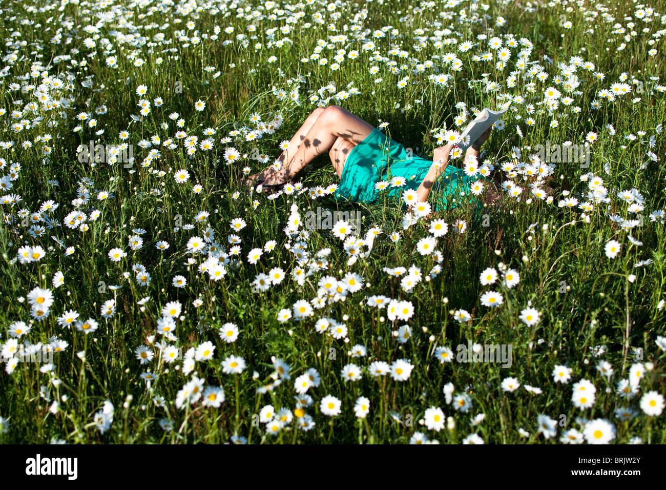 Una joven mujer disfruta de un momento bastante leyendo un libro en un campo de flores silvestres en Idaho. Imagen De Stock
