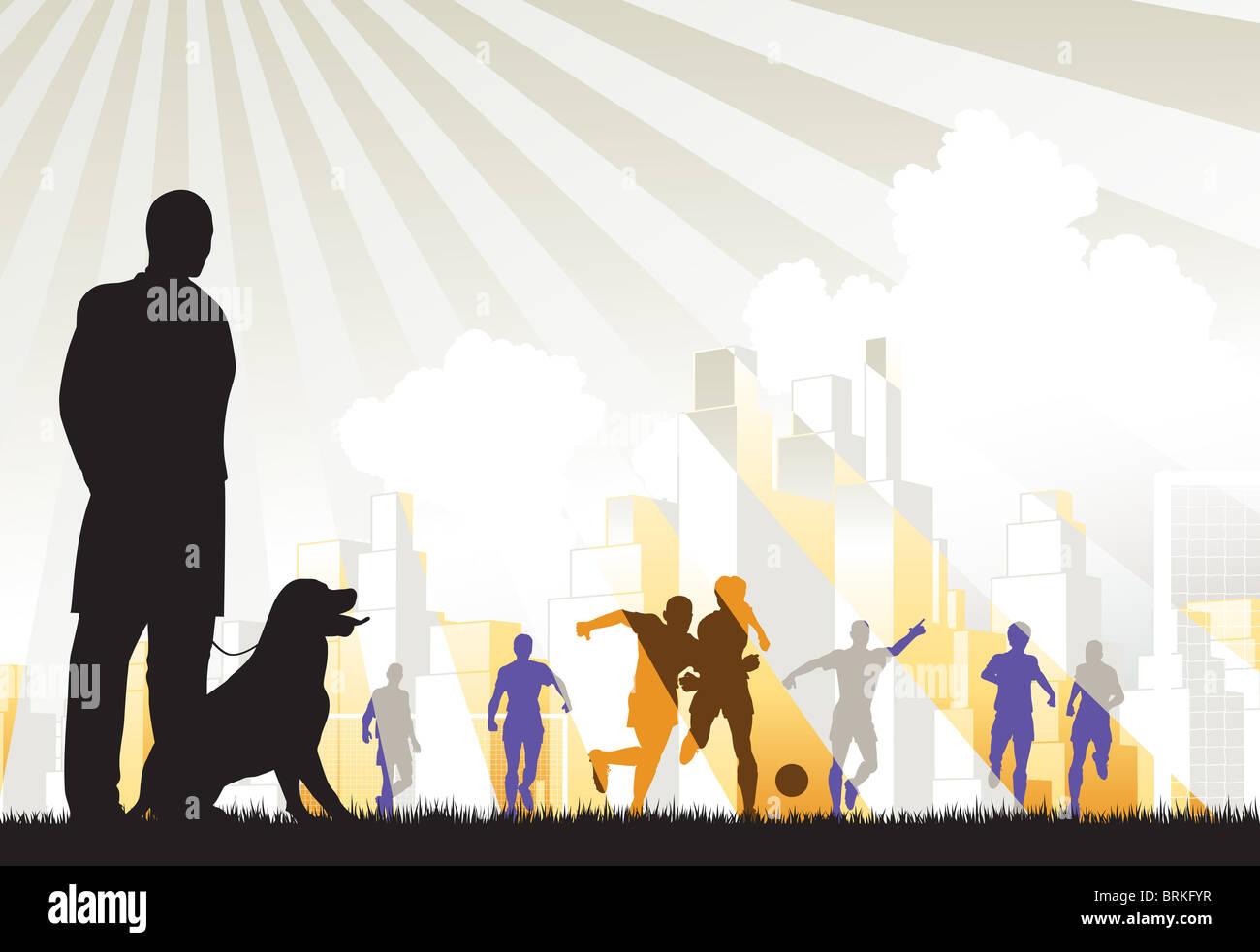 Ilustración de un hombre viendo futbolistas Imagen De Stock