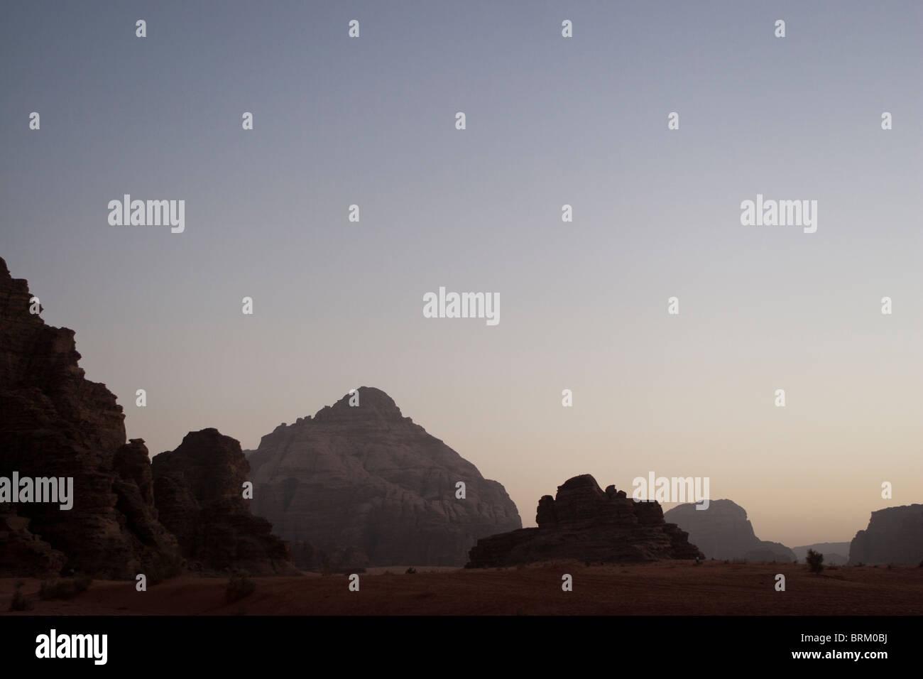 Sunset, Wadi Rum, Jordania. Foto de stock