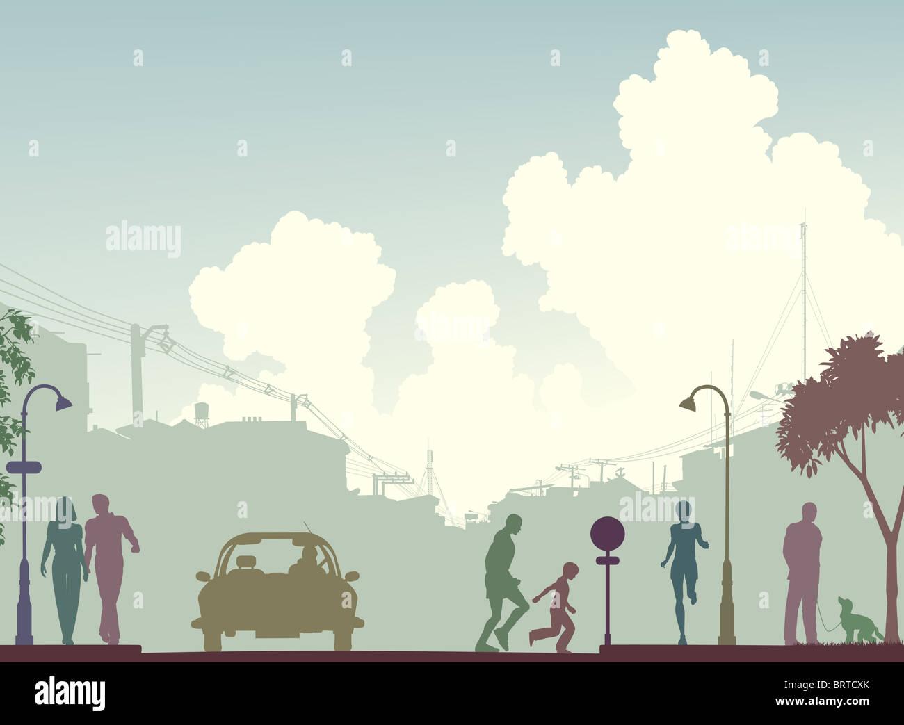 Se ilustra la silueta de una calle transitada con espacio de copia Imagen De Stock
