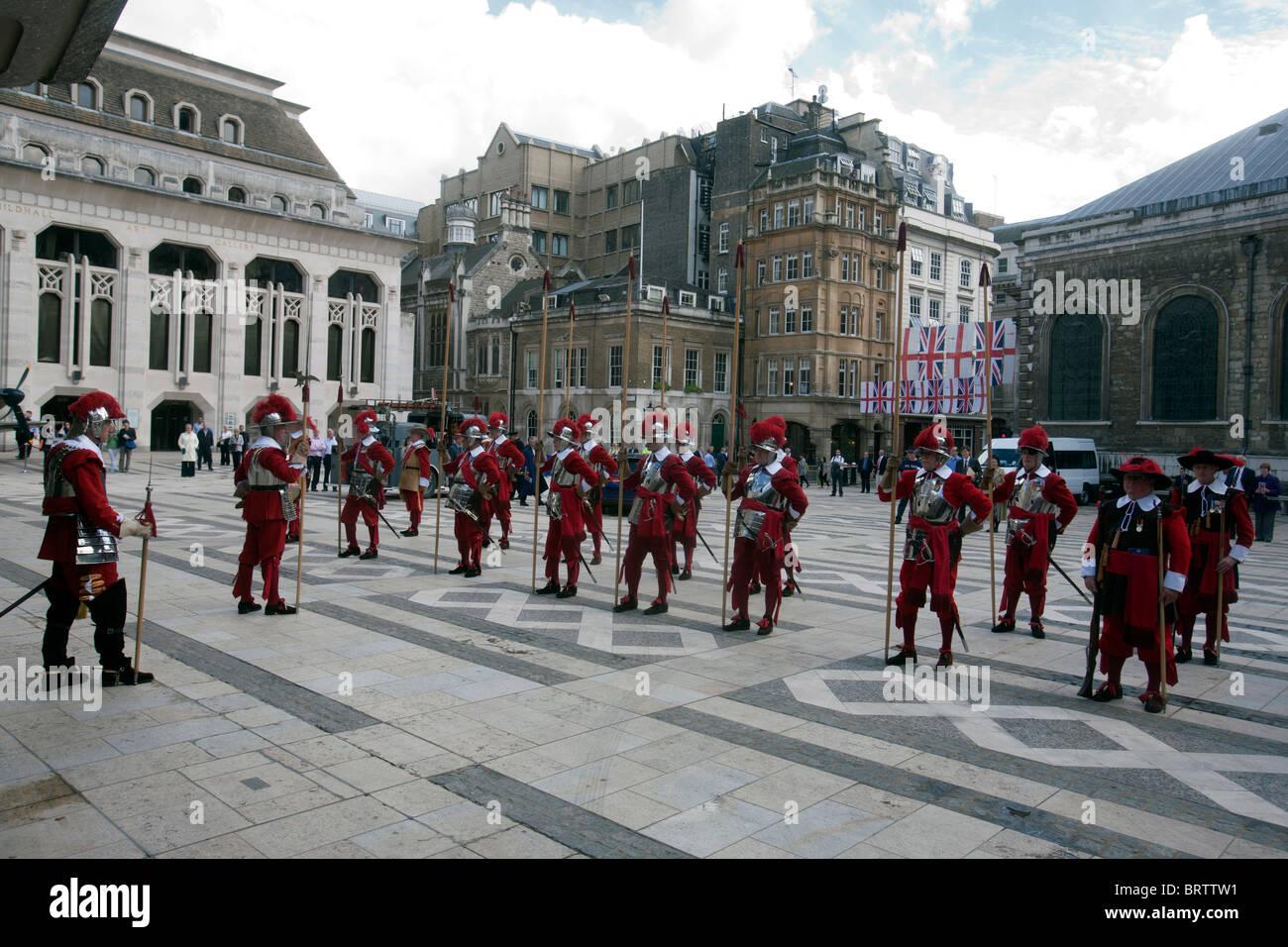 Honorable Compañía de artillería en Guildhall de Londres Imagen De Stock