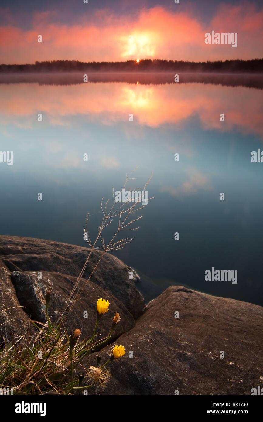 Al amanecer en el lago Vansjø Hvalbukt, Rygge kommune, Østfold fylke, Noruega. Imagen De Stock