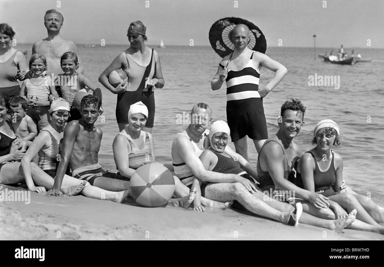 Bañarse viaje al Mar Báltico, fotografía histórica, alrededor de 1927 Imagen De Stock