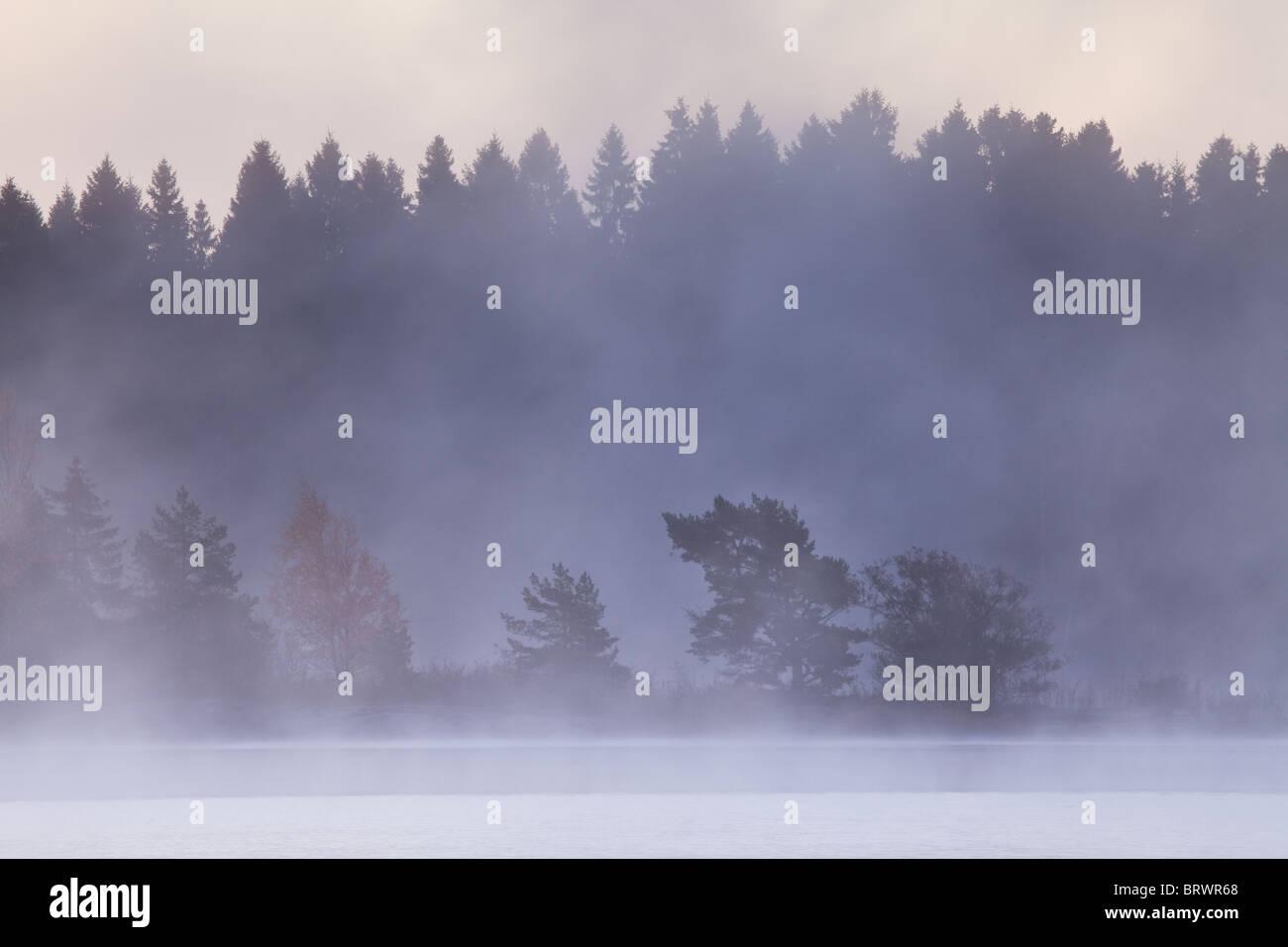 Niebla por la mañana temprano después de una helada noche de octubre en el lago, Østfold Vansjø fylke, Noruega. Foto de stock