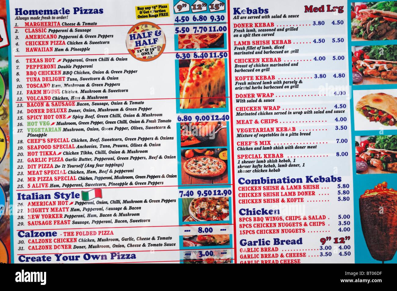 Menú en un restaurante de comida rápida, Reino Unido. Imagen De Stock
