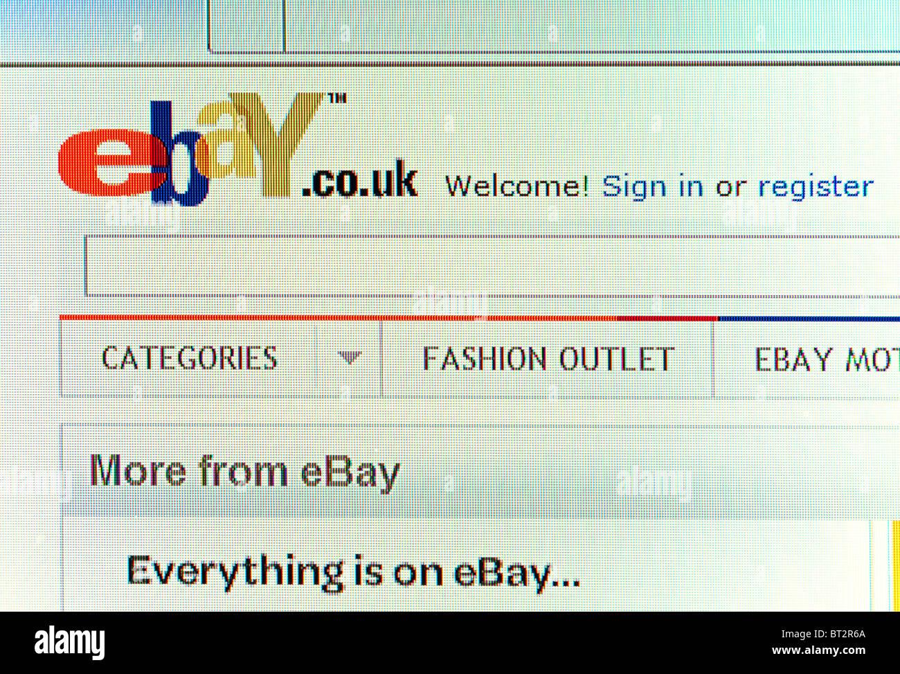 Captura de pantalla de la página de bienvenida de ebay Imagen De Stock