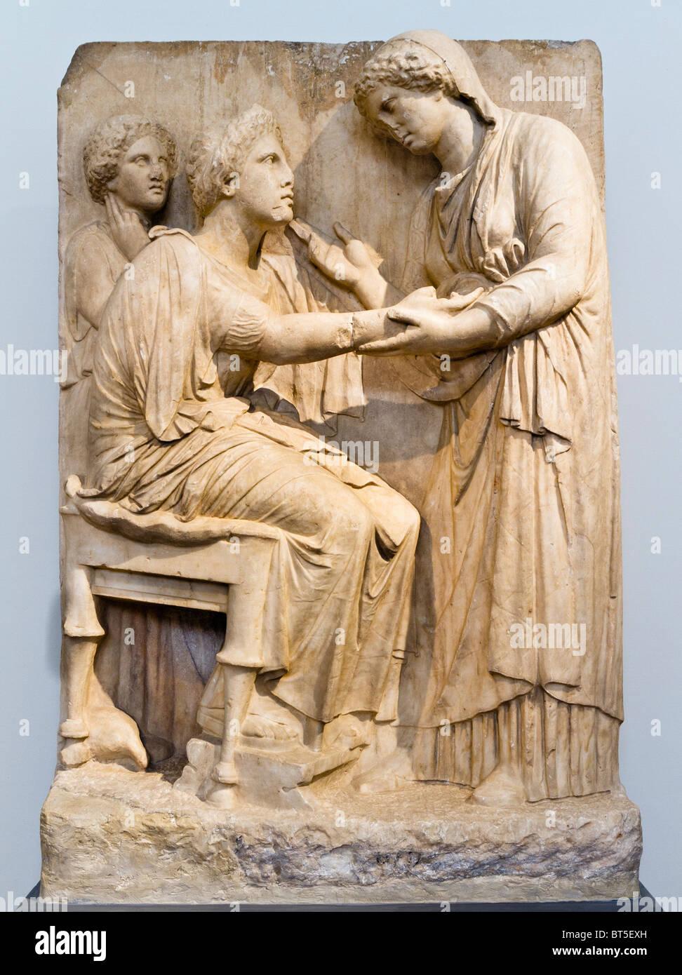 El famoso 'Grands Adieux' o 'Adiós', a partir de una estela funeraria de naiskos ca. 350-325 Imagen De Stock