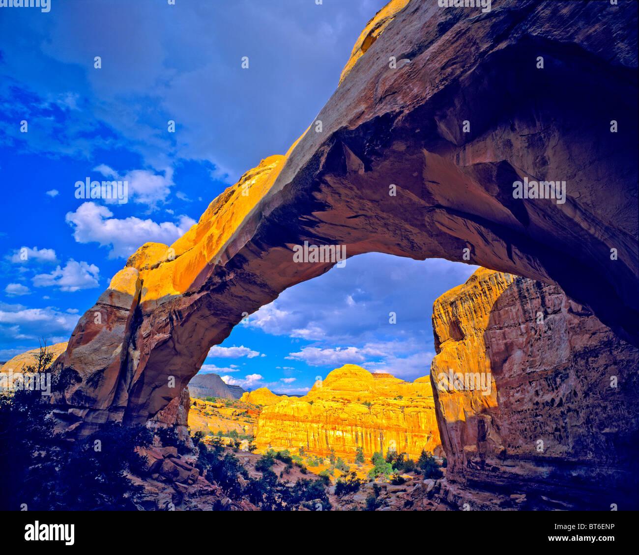 Hickman Puente Natural, el Parque Nacional Capitol Reef, Utah, Fremont River, Waterpocket Fold Imagen De Stock