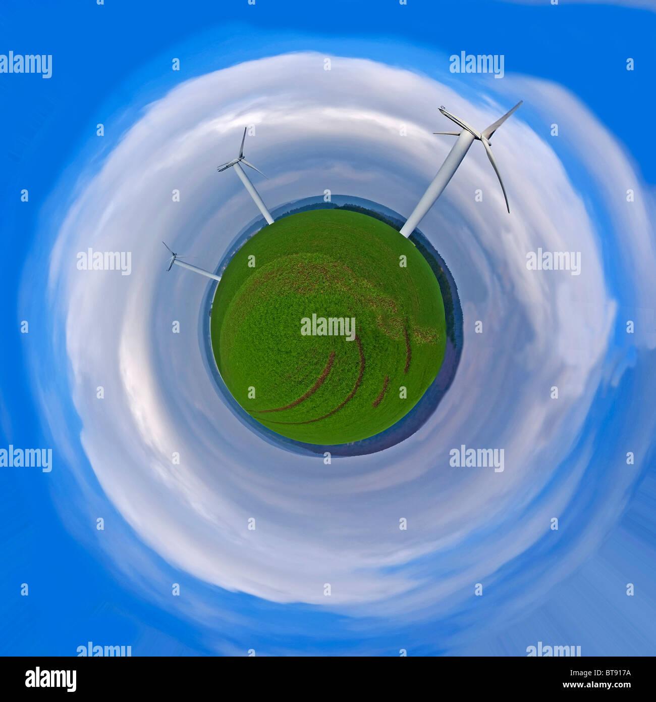 La energía eólica está volando por el espacio Imagen De Stock