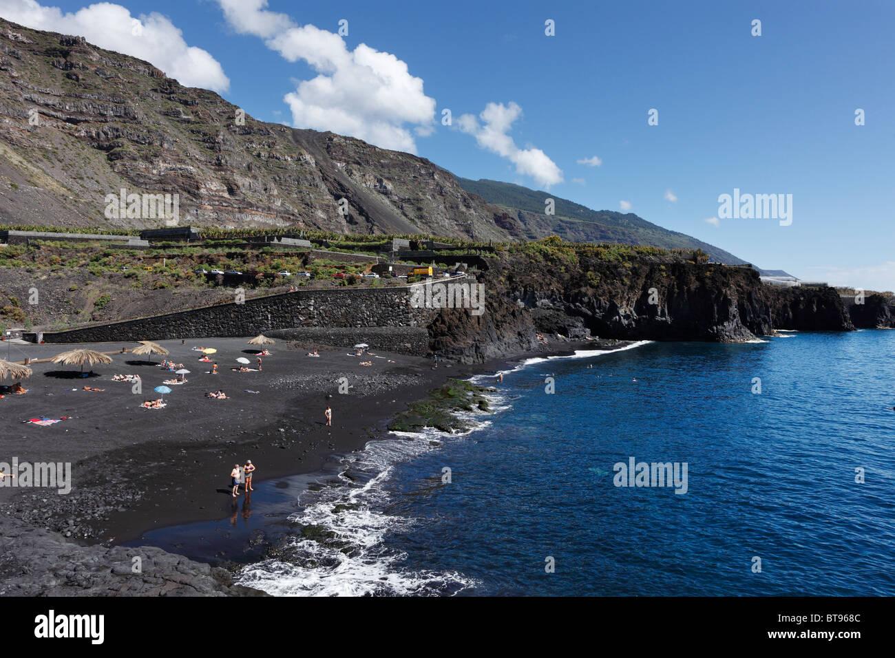 """La playa de Charco Verde, 'Paisaje Protegido del Remo"""" Reserva Natural, La Palma, Islas Canarias, España, Imagen De Stock"""