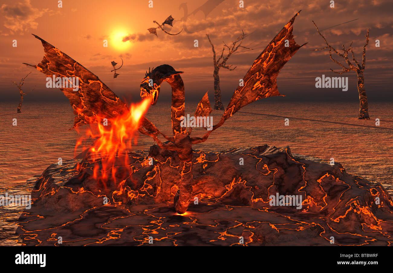 Lava el nacimiento de los dragones Foto de stock