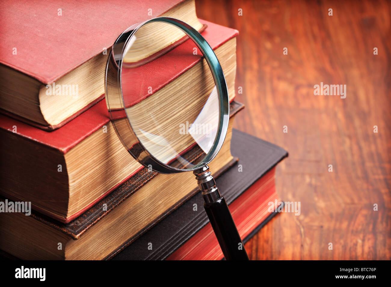 Lupa con libros antiguos Imagen De Stock