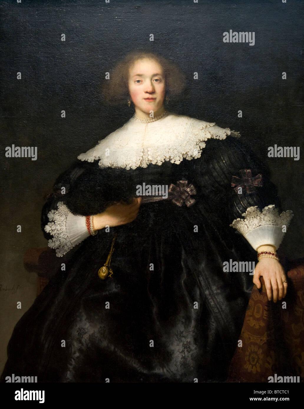 Retrato de una mujer joven con un ventilador, 1633, por Rembrandt (Rembrandt van Rijn), holandés, Metropolitan Imagen De Stock