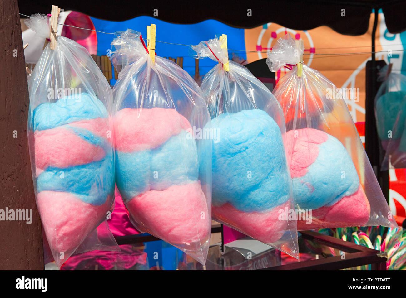 Cotton Candy y fun fair cala, Coney Island Imagen De Stock