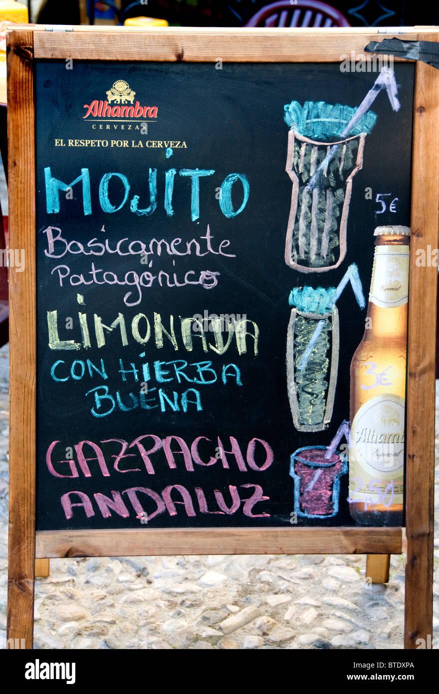 Sevilla España Cafe Bar Pub Mojito Menú signo Imagen De Stock
