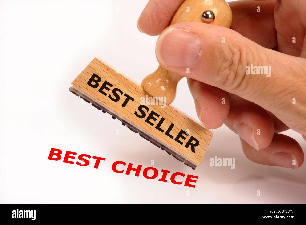 Sello de caucho marcados con el mejor vendedor y la mejor opción de copia Foto de stock