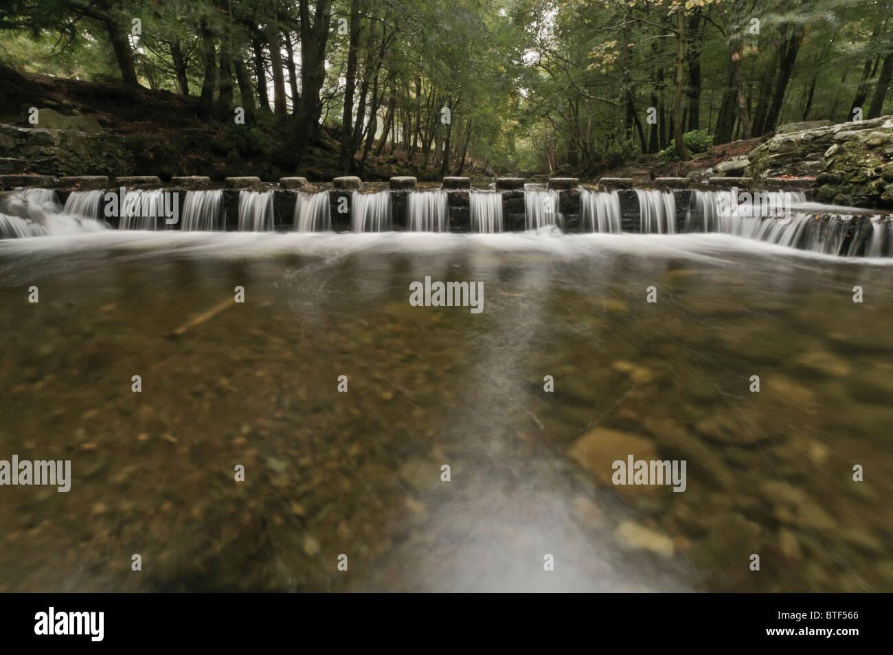 El agua que fluye entre piedras pasaderas sobre el río Shimna Tollymore, Irlanda del Norte, destacados en el Juego de Tronos Foto de stock