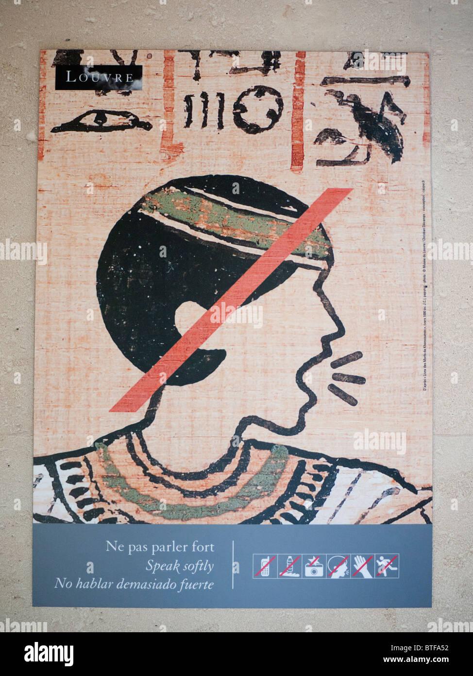 Firmar en el Museo del Louvre en París, pidiendo a los visitantes estar tranquilo Imagen De Stock