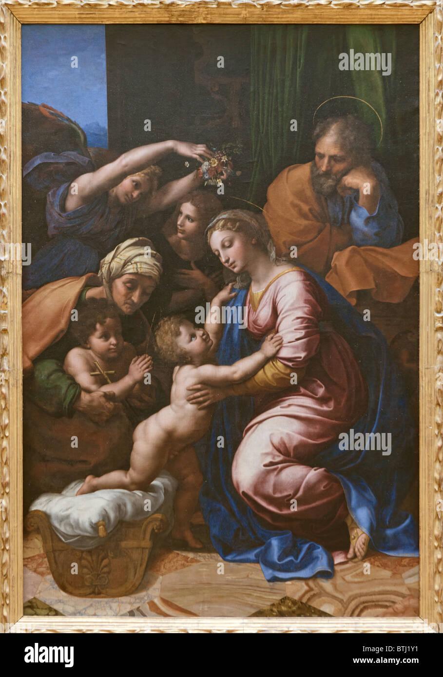 Gran Sagrada Familia por Rafael (Raffaello Sanzio da Urbino), c. 1518, Museo del Louvre en París Imagen De Stock