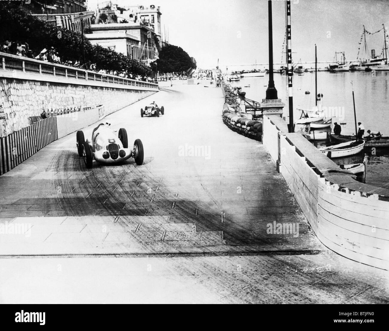 Rudolf Carraciola conduce Hans atascado en una carrera de prueba en carretera para el Grand Prix de Mónaco Imagen De Stock