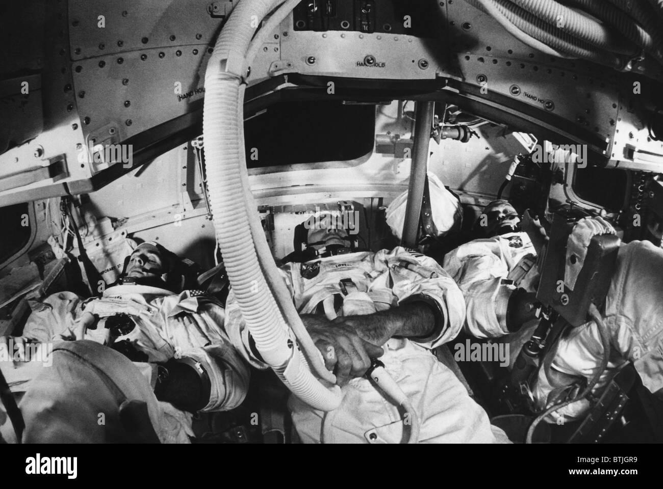 Los astronautas de las Apolo 8, William A. Anders, James A. Lovell Jr., Frank Borman, Cabo Kennedy, Florida, 20 Foto de stock