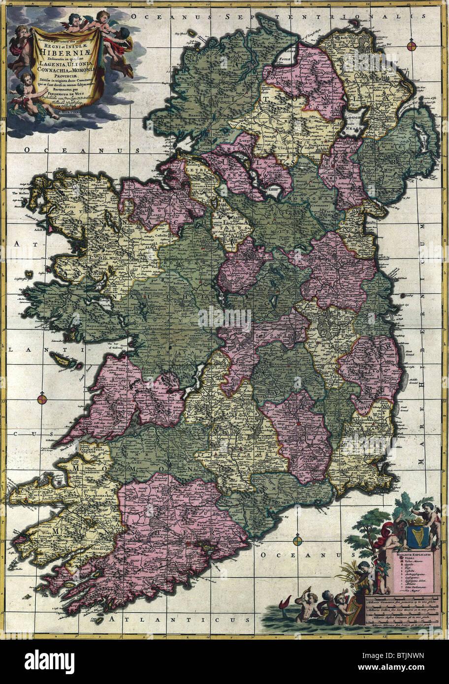 Mapa de Irlanda del siglo XVIII, mostrando, cuando todos los condados de Irlanda estaba bajo el dominio británico. Foto de stock