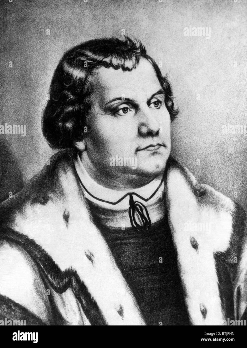 Martín Lutero (1483-1546), monje alemán cuyas enseñanzas inspiraron la luterana y tradiciones protestantes, Imagen De Stock