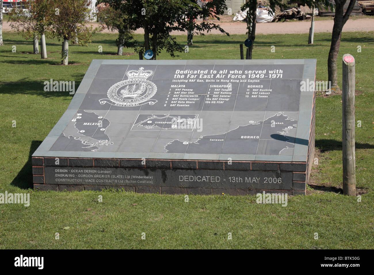 El Far East Air Force Memorial en el National Memorial Arboretum, Alrewas, Reino Unido. Imagen De Stock