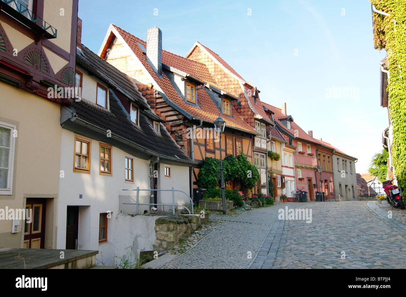 Alemania, Harz, Quedlinburg, las antiguas casas con entramado de madera de Imagen De Stock